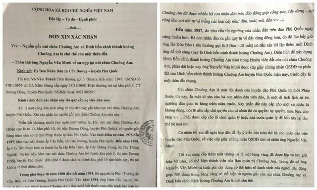 Đơn xác nhận nguồn gốc đất chùa Chuông Am của ông Nguyễn Văn Thành - nguyên cán bộ ấp Cây Bến - khu vực núi chùa Chuông Am