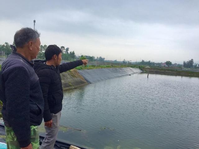 Khu vực nuôi tôm của Tổ hợp tác nuôi trồng thủy sản Bình Định sẽ bị cây xăng xây dựng chồng lên
