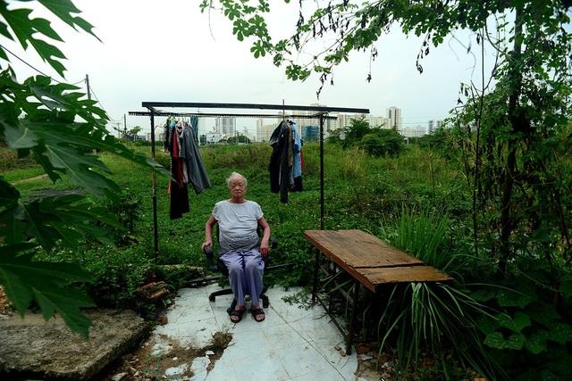 Gia đình bà Nga sống trong căn nhà tuềnh toàng, bao vây là những bãi cỏ rậm.