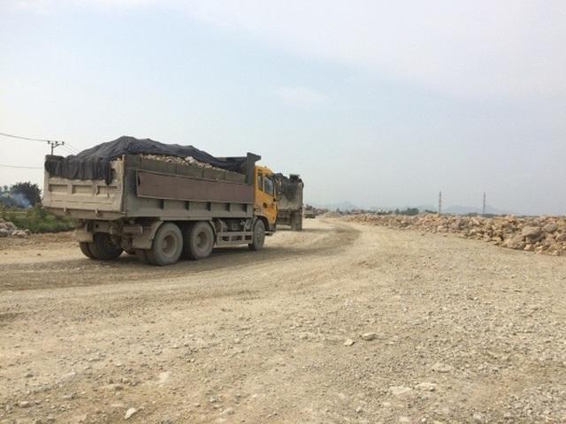 Đoàn xe Howo của đơn vị thi công ồ ạt san lấp mặt bằng trên diện tích đất 2 lúa của người dân xã Gia Tân.