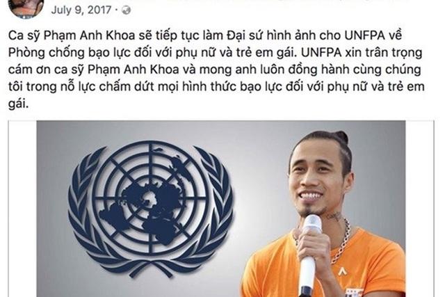 Trước đó, Phạm Anh Khoa được chọn làm Đại sứ hình ảnh cho UNFPA về Phòng chống bạc lực đối với phụ nữ và trẻ em gái.