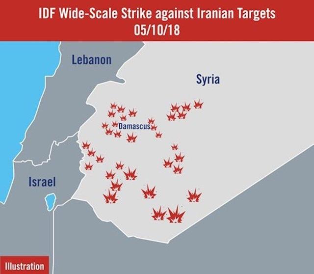 Các mục tiêu của Israel trong đợt không kích Syria vào sáng 10/5. (Ảnh: IDF)