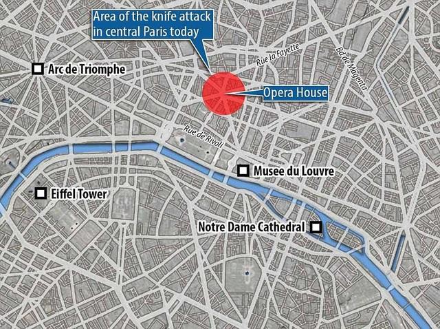 Bản đồ khu vực xảy ra vụ tấn công bằng dao tại Paris hôm 12/5 (Ảnh: Dailymail)