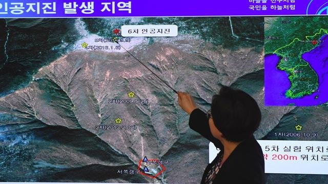 Bản đồ thể hiện dư chấn sau một vụ thử hạt nhân của Triều Tiên (Ảnh: AFP)