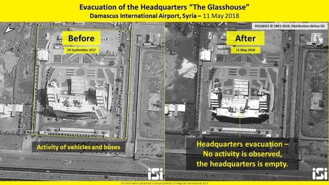 Tòa nhà được cho là sở chỉ huy quân sự của Iran ở Syria phải sơ tán. (Ảnh: ISI)