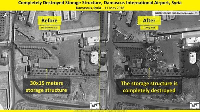 Kho chứa ở sân bay quốc tế Damascus trước và sau cuộc không kích của Israel. (Ảnh: ISI)