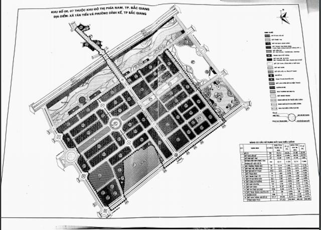 Bản đồ quy hoạch khu đất 46ha mà trong đó có 14,25 ha đất ở phân lô bán nền tại khu đô thị phía nam TP Bắc Giang mà Công ty TNHH Tân Thịnh sẽ được đối ứng sau khi thực hiện dự án.