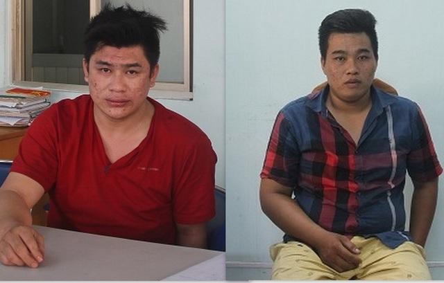 2 nghi can Nguyễn Tấn Tài (áo đỏ) và Nguyễn Hoàng Châu Phú