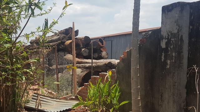 Một góc bên trong xưởng gỗ rộng lớn của Phương râu tại huyện Cư Jút