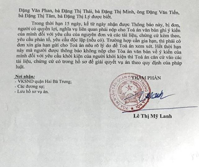 Thông báo thụ lý vụ án do thẩm phán Lê Thị Mỹ Lanh ký.