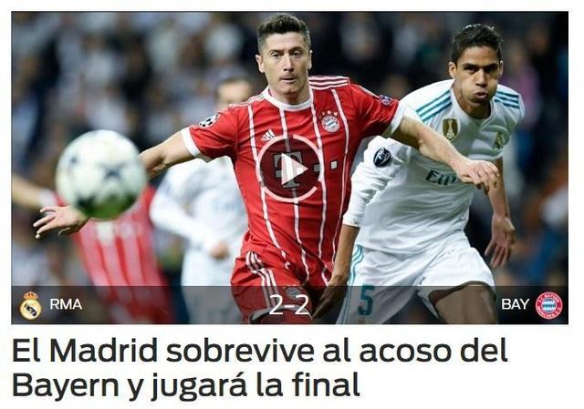 Tờ Dario Sport (báo thân Barcelona) có bài viết: Real Madrid sống sót sau màn uy hiếp của Bayern Munich để lọt vào chung kết. Trong bài, tác giả nhấn mạnh tới việc Real Madrid nhận được sự trợ giúp của trọng tài, khi được bỏ qua 2 quả phạt đền