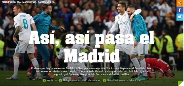 Tờ Ole (Argentina) giật tít: Đây là cách Real Madrid đang làm để nói về việc Los Blancos lọt vào chung kết Champions League lần thứ 3 liên tiếp