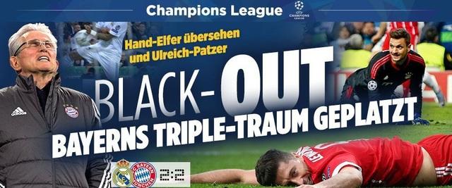 Tờ Bild (Đức) giật tít: Giấc mộng ăn ba của Bayern Munich tan vỡ. Tờ báo này đặc biệt nhấn mạnh vào sai lầm của thủ thành Sven Ulreich đã khiến Bayern Munich ôm hận