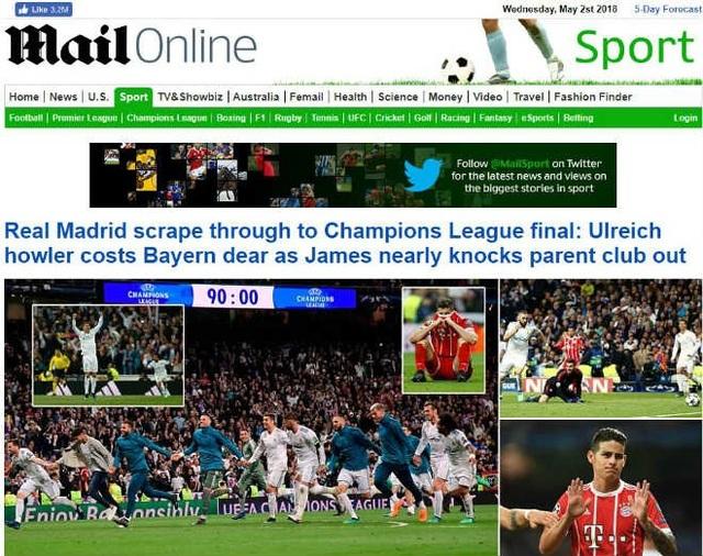 Tờ Daily Mail (Anh) có bài: Real Madrid chật vật lọt vào chung kết Champions League: Sai lầm lớn của Ulreich khiến Bayern Munich phải trả giá. James Rodriguez suýt nữa loại được CLB cũ.