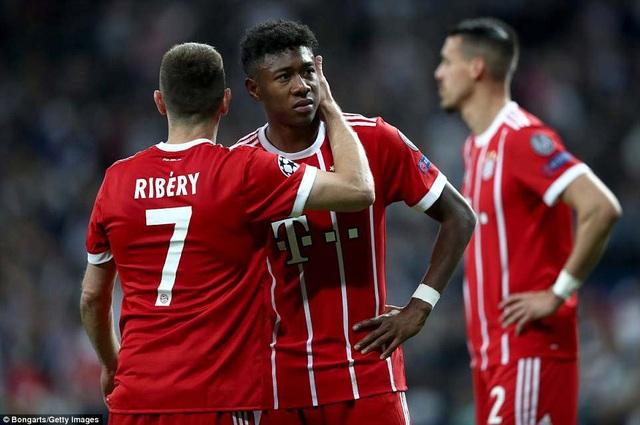 Nỗi buồn của Alaba và Ribery sau khi Bayern Munich bị loại
