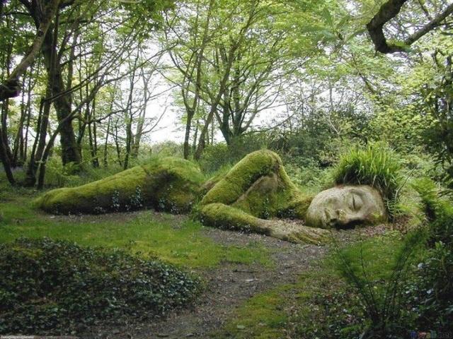 """Bức tượng """"ngủ"""" trong khu vườn hoang ở Heligan, Anh."""