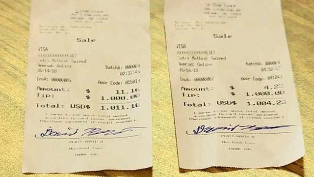 Vị khách hai lần boa 1.000 đô la cho cô gái bồi bàn. Nguồn: 5 News KSFM