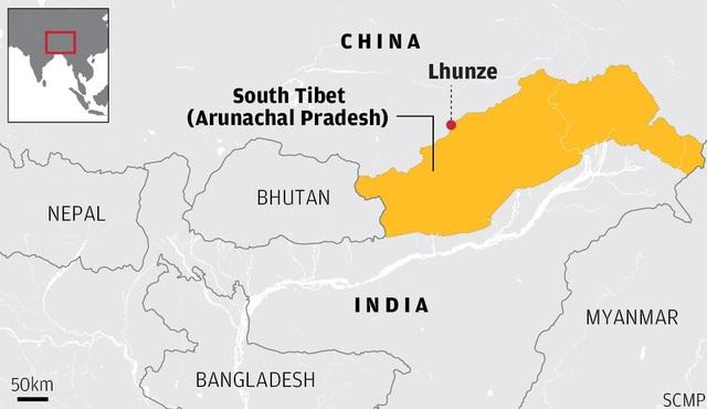 Bản đồ khu vực biên giới Trung Quốc - Ấn Độ (Ảnh: SCMP)