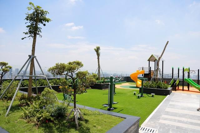 Tầng Sky Garden đã hoàn thiện cảnh quan và hệ thống tiện ích