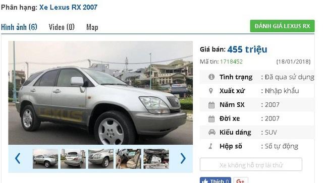 """Chiếc Lexus RX đời 2007, màu bạc, số tự động, nhập khẩu này đang được rao bán giá 455 triệu dồng. Theo người bán thì """"xe nhà mua mới, ít đi, ít hao xăng""""."""