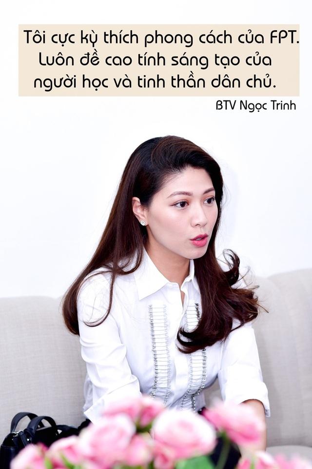 BTV Ngọc Trinh thể hiện rõ phong thái tự tin, sắc sảo trong vòng phỏng vấn học bổng tại FSB.