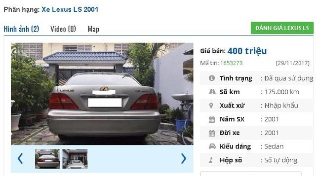 """400 triệu đồng là giá của chiếc Lexus LS 430 đời 2001, màu bạc, nhập khẩu này. Một số trang bị tiện ích trên xe được quảng cáo bao gồm """"cảm biến quanh xe, phanh khoảng cách, nâng hạ gầm, dàn chỉnh nhạc sau, cốp lạnh, cửa hít 4 cánh, cửa sổ trời, âm thanh Marklevision…""""."""