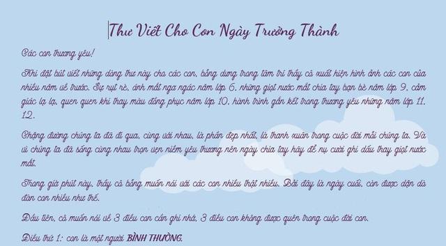 Cô Nguyễn Minh Ngọc đọc bức thư đầy tâm huyết gửi học trò trong Lễ tri ân
