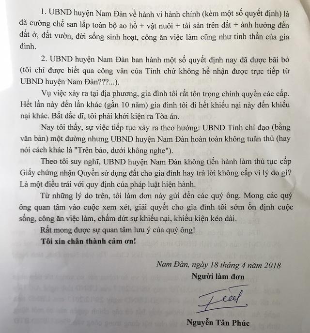 Đơn thư gia đình ông Nguyễn Tân Phúc gửi cơ quan chức năng và báo chí.
