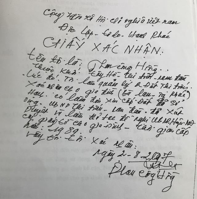 Xác nhận của ông Phan Công Hồng cán bộ UBND thị trấn Nam Đàn thời kỳ đó về quá trình xin cấp đất của ông Nguyễn Tân Phúc vào năm 1989.