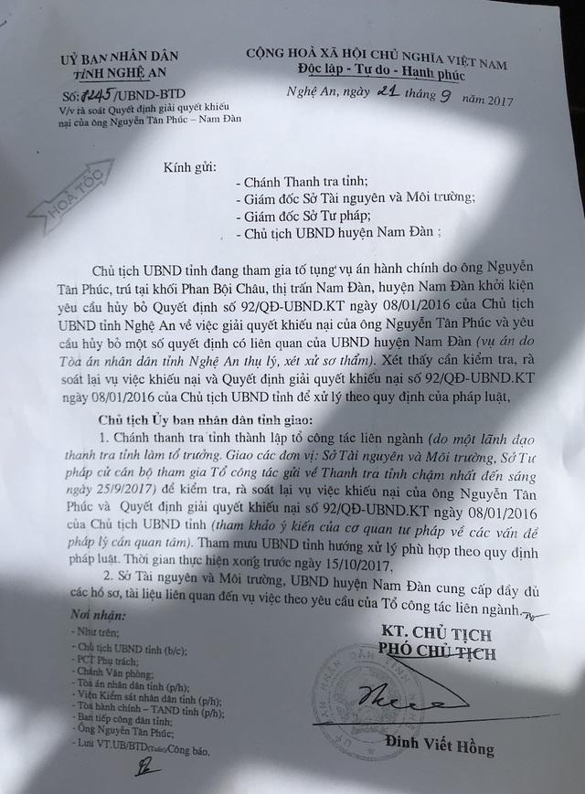 Ngày 21/9/2017, UBND tỉnh Nghệ An có Công văn hỏa tốc gửi các cơ quan chức năng liên quan về việc rà soát Quyết định giải quyết khiếu nạn của ông Nguyễn Tân Phúc.