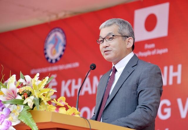 Ông Keiji Kaneko - Tổng Giám đốc Công ty Ajinomoto Việt Nam phát biểu tại lễ khánh thành.