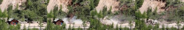 Đường hầm số 2 và trạm quan sát tại Punggye-ri bị đánh sâp. (Ảnh: Reuters)