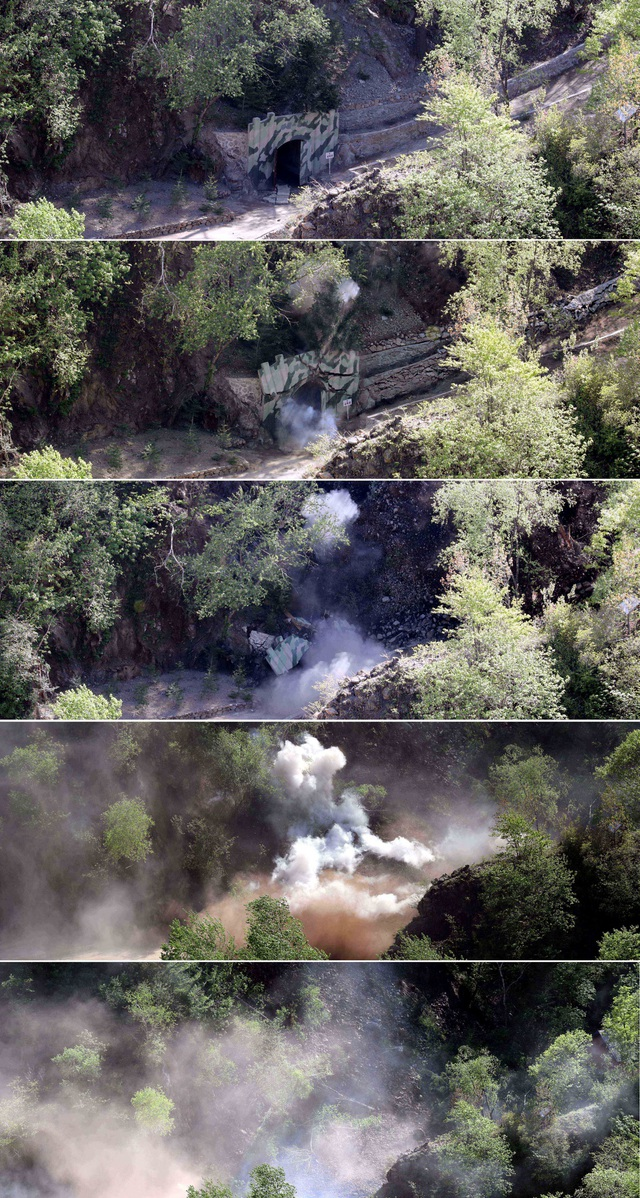 Cận cảnh quá trình đường hầm số 3 bị nổ tung. (Ảnh: Reuters)