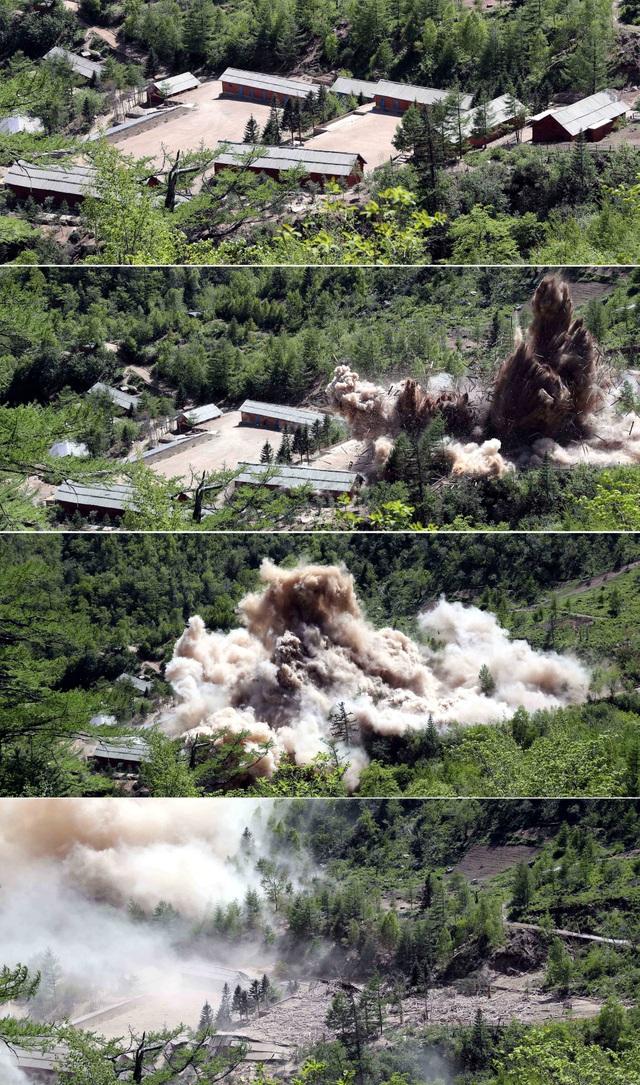 Trạm chỉ huy và trại lính tại khu thử hạt nhân Punggye-ri trước và sau khi bị đánh sập. (Ảnh: Reuters)