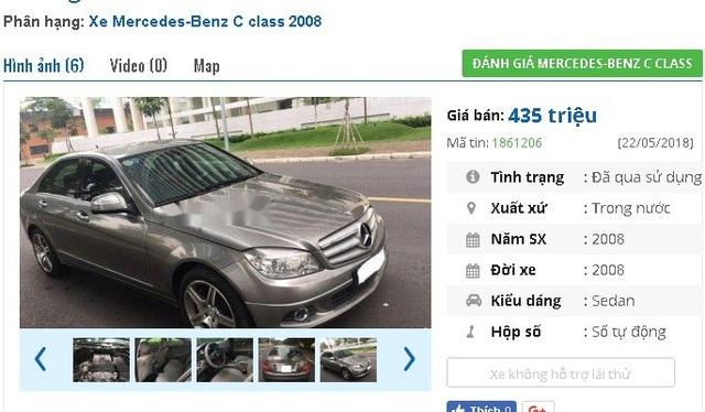 435 triệu là giá rao bán của chiếc Mercedes sản xuất năm 2008, màu xám này trên thị trường xe hơi cũ. Chủ nhân cho biết xe được trang bị mâm đúc, ABS.
