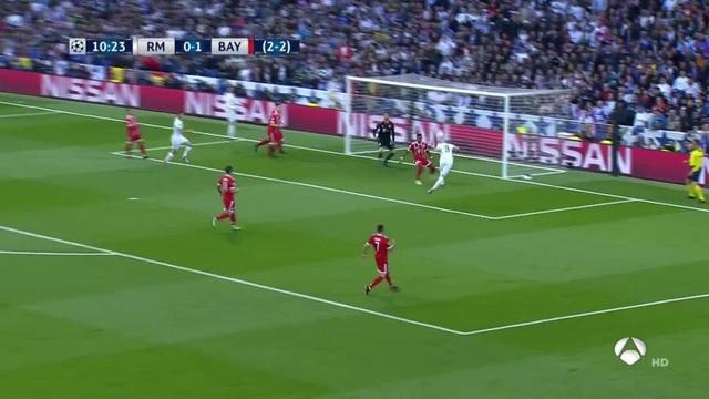 C.Ronaldo đã hút hết người của Bayern Munich cho Benzema thoải mái đánh đầu ghi bàn