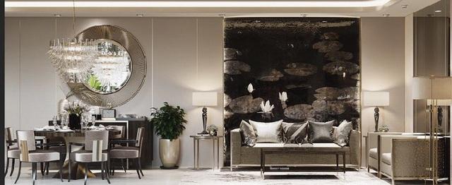 Phòng ăn cũng như tổng thể căn nhà là những vật dụng trang trí sang trọng nhưng tông màu chính là đen, trắng và xám.