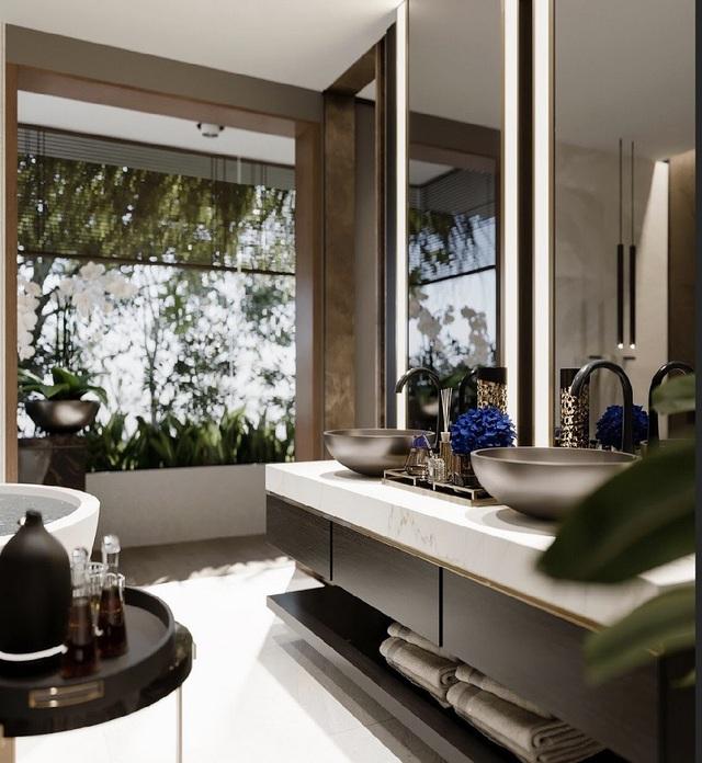 Phòng tắm được thiết kế như không gian khách sạn 5 sao. Từng chi tiết, vật dụng nhỏ đều được chăm chút