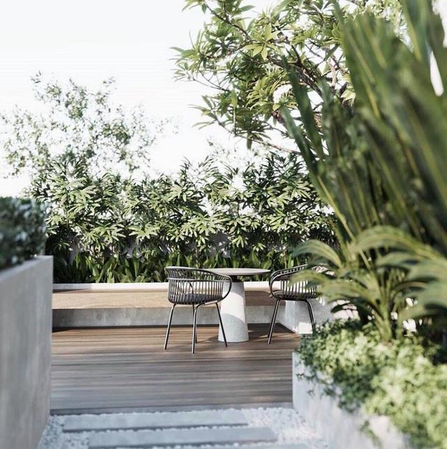 Căn nhà có khuôn viên bên ngoài cũng rộng rãi và thoải mái để thư giãn