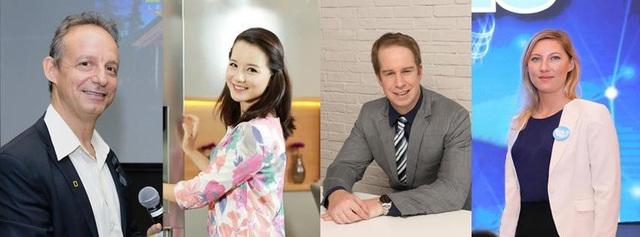 Thành viên Ban giám khảo (từ trái sang) đến từ National Geographic Learning, Đài truyền hình Việt Nam cùng các giám đốc đào tạo cấp cao của Apollo English.