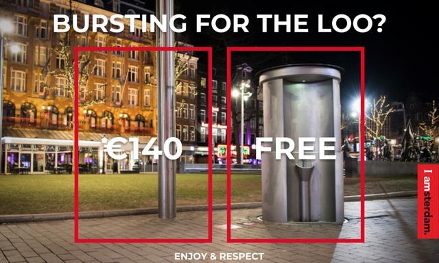 """Áp-phích hưởng ứng chiến dịch """"Vui chơi và tôn trọng"""" ở Amsterdam."""