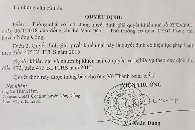 Viện kiểm sát nhân dân huyện Nông Cống thống nhất với nội dung giải quyết khiếu nại của Thủ trưởng cơ quan CSĐT Công an huyện Nông Cống