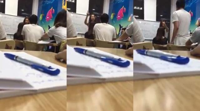 Hình ảnh cô Kim Tuyến chửi học viên là con lợn gây sốt cộng đồng mạng. Ảnh cắt từ clip.