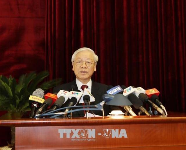 Tổng Bí thư phát biểu khai mạc Hội nghị Trung ương 7 khoá XII sáng 7/5 (ảnh: TTXVN)