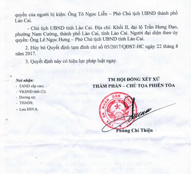 TAND tỉnh Lào Cai vừa ra 3 quyết định tiếp tục giải quyết vụ án hành chính khi người dân khởi kiện Chủ tịch UBND tỉnh Lào Cai, Chủ tịch UBND TP Lào Cai và UBND TP Lào Cai ra tòa.