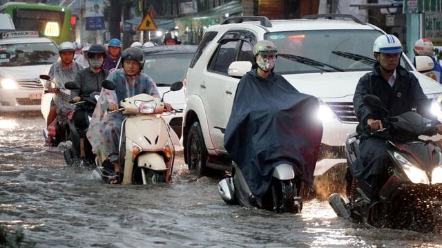 Tại đường Phạm Hữu Lầu, quận 7 nước ngập sâu hơn nửa bánh xe. Hàng loạt phương tiện chết máy, dẫn bộ.