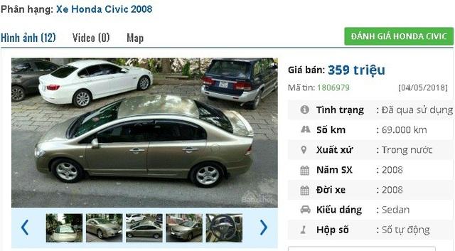 Chiếc Honda Civic 1.8 tự động đời 2008 này có giá bán 359 triệu đồng. Theo quảng cáo thì xe gia đình sử dụng kỹ và bảo dưỡng chính hãng, đã được trang bị nhiều option như màn hình DVD cảm ứng; CD/MP3/USB/SD/AUX; thoại rảnh tay Bluetooth….