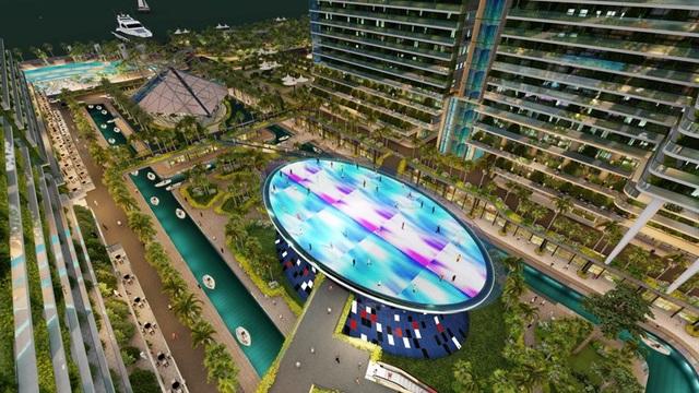 Integrated Resort Sunshine Marina Nha Trang Bay gây ấn tượng với phối cảnh sân khấu Lighting Show hoành tráng đặt tại ví trí trung tâm dự án.