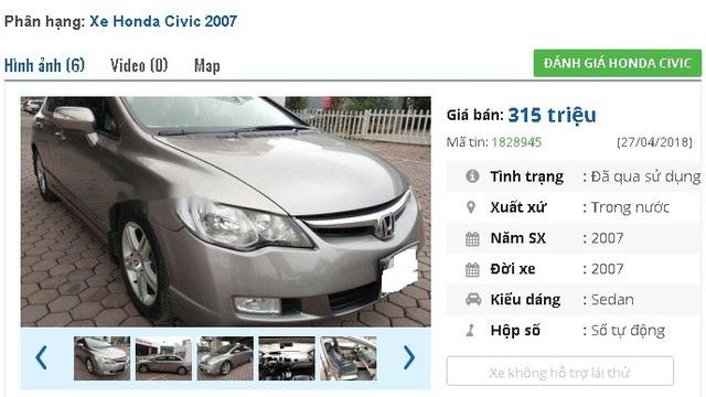 Chính chủ đang rao bán xe Honda Civic 2.0AT 2007, màu xám số tự động này với giá 315 triệu đồng.