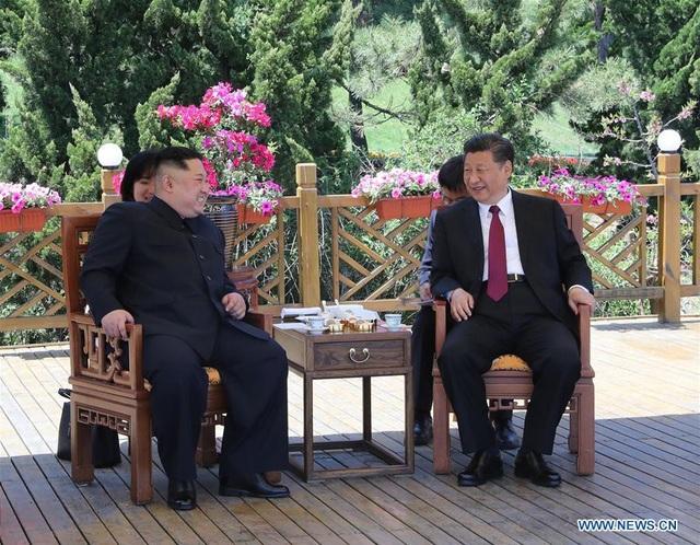 Đây là cuộc gặp mặt thứ hai của hai nhà lãnh đạo Trung - Triều trong vòng 40 ngày (Ảnh: Tân Hoa Xã)